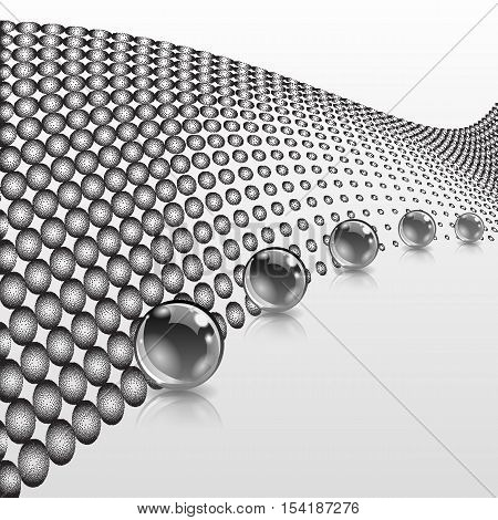 Abstract spheres with surface. Concept business design. Stipple dotted effect. Vector ilustration.
