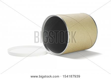 Empty Paper Cardboard Container Lying on White Background