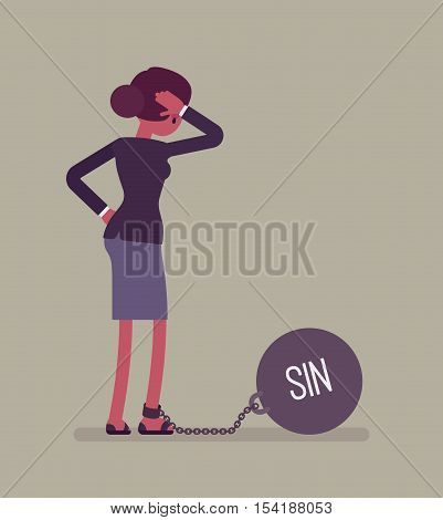 Businesswoman chained with a giant metall weight, written Sin on a ball, thinking the problem over, scratching her head. Rear view. Cartoon vector flat-style concept illustration