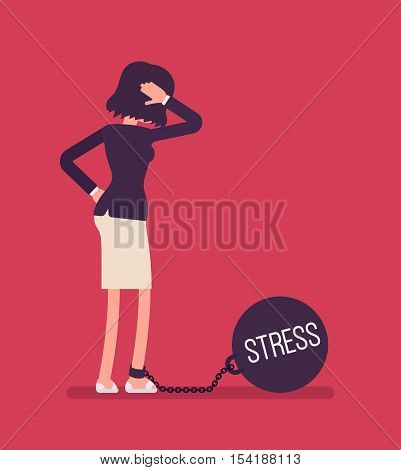 Businesswoman chained with a giant metall weight, written Stress on a ball, thinking the problem over, scratching her head. Rear view. Cartoon vector flat-style concept illustration