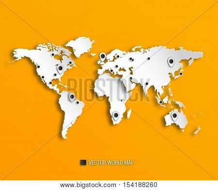 3D World Map With Shadows And Marks On A Bright Orange Background