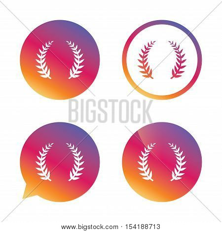 Laurel Wreath sign icon. Triumph symbol. Gradient buttons with flat icon. Speech bubble sign. Vector