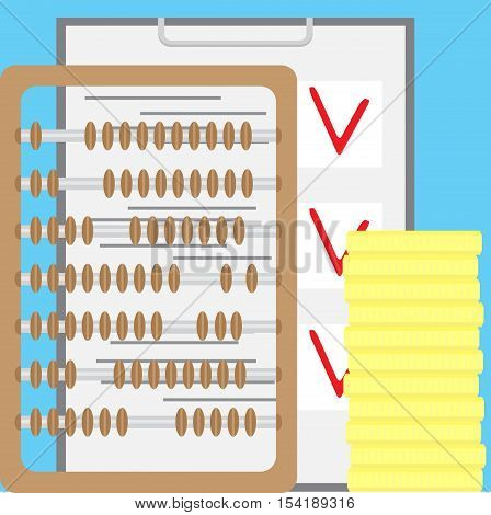 Counting finance. Accounting and account. Accountant finance bookkeeping and tax audit and money vector illustration