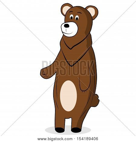 Cartoon brown bear. Grizzly bear and brown bear isolated vector illustration