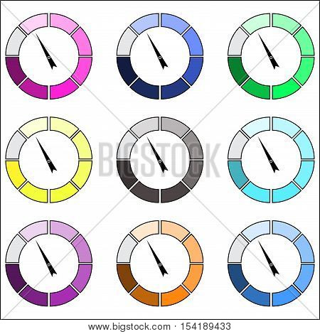 Indicator round color set. Index pointer arrow measure and performance indicators. Vector illustration