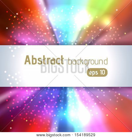 Background With Colorful Light Rays. Abstract Background. Vector Illustration. Blue, Pink, Orange Co