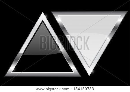 Triangles. Black and white triangle with chrome frame. Vector illustration on black background