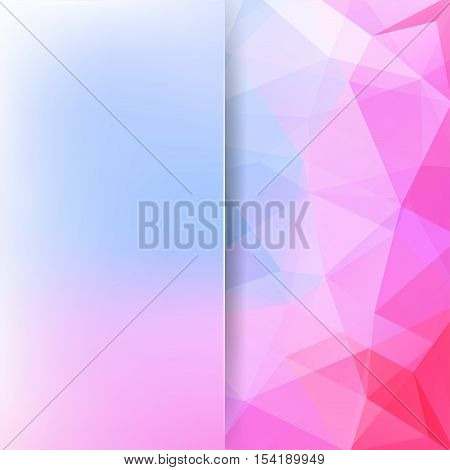 Geometric Pattern, Polygon Triangles Vector Background In Pink And Blue Tones. Blur Background With