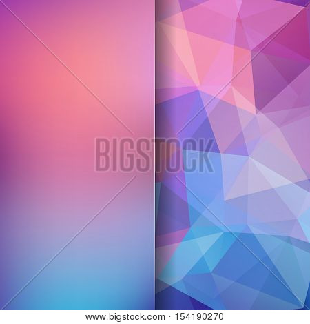 Geometric Pattern, Polygon Triangles Vector Background In Pink, Blue Tones. Blur Background With Gla