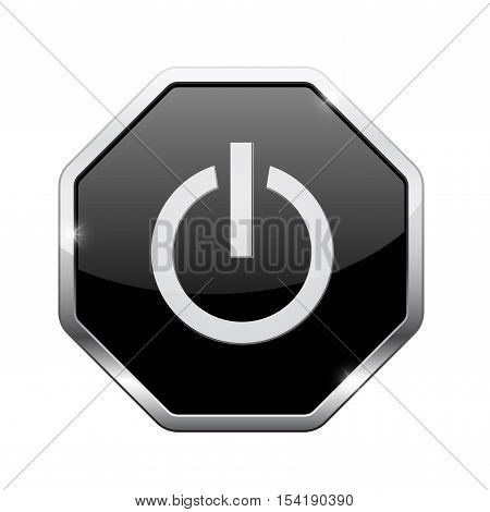 Standby button. Black octagon web icon with chrome frame. Vector illustration isolated on white background