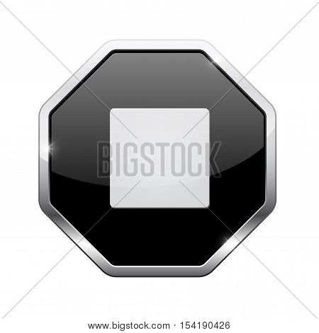 Stop button. Black octagon web icon with chrome frame. Vector illustration isolated on white background