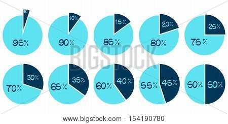 Vector Infographics. 5 10 15 20 25 30 35 40 45 50 55 60 65 70 75 80 85 90 95 percent blue pie charts isolated on white background