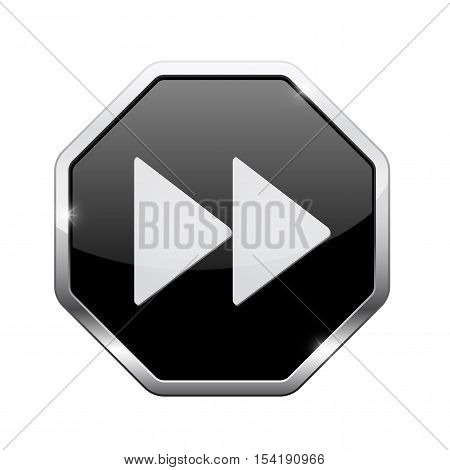 Fast forward button. Black octagon web icon with chrome frame. Vector illustration isolated on white background