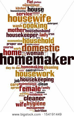 Homemaker word cloud concept. Vector illustration on white