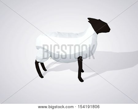 Origami sheep. Polygonal sheep side view. Geometric style white sheep with black head. 3D illustration