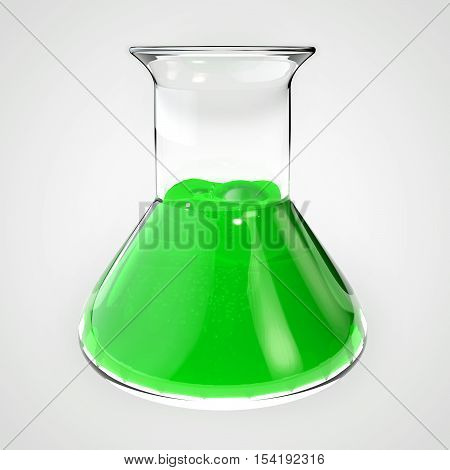 Poison flask vial tube. Bottle filled with green liquid. 3D illustration