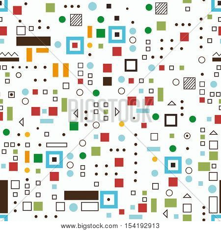 Seamless pattern on a white background with geometric elements of square shape in color.
