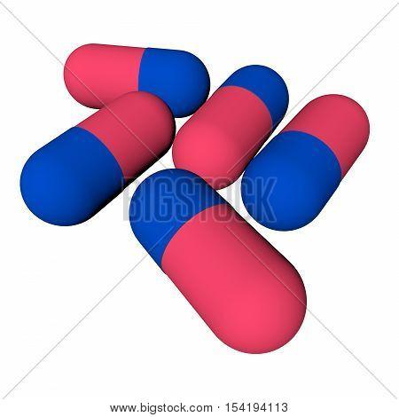 The tablets, pills. Illustration. 3d render. background.
