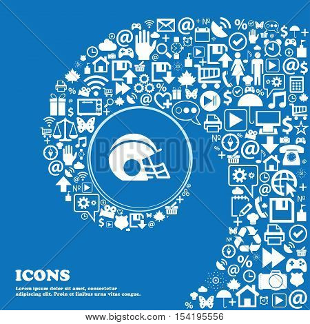 Football Helmet Icon Sign. Nice Set Of Beautiful Icons Twisted Spiral Into The Center Of One Large I