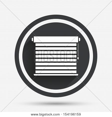 Louvers sign icon. Window blinds or jalousie symbol. Circle flat button with shadow and border. Vector