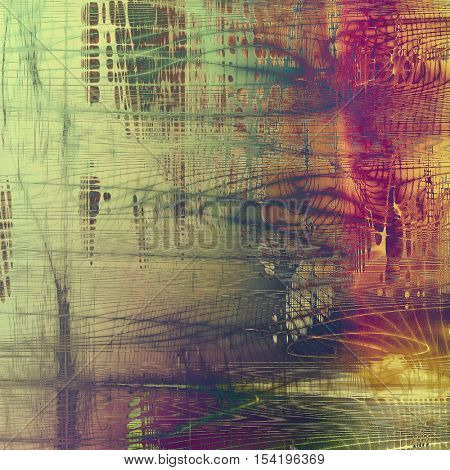 Abstract scratched background or frame with weathered grunge texture. Ancient style backdrop with different color patterns: yellow (beige); brown; gray; green; red (orange); purple (violet)