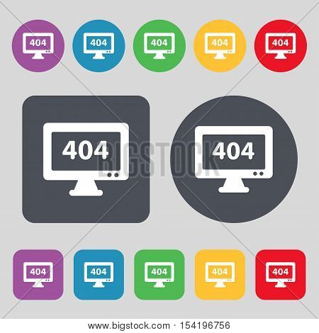 404 Not Found Error Icon Sign. A Set Of 12 Colored Buttons. Flat Design. Vector