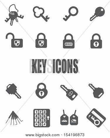 Key flat icon set - EPS 10 vector