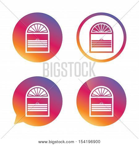 Louvers plisse sign icon. Window blinds or jalousie symbol. Gradient buttons with flat icon. Speech bubble sign. Vector