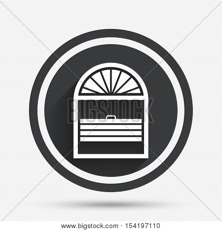 Louvers plisse sign icon. Window blinds or jalousie symbol. Circle flat button with shadow and border. Vector