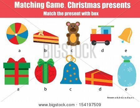 Matching pairs game for kids. Find the right box for each Christmas gift children educational game. Match by shape activity. Christmas theme