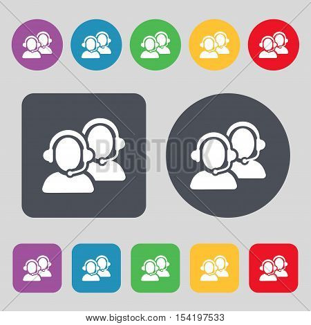 Call Center Icon Sign. A Set Of 12 Colored Buttons. Flat Design. Vector