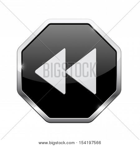 Rewind button. Black octagon web icon with chrome frame. Vector illustration isolated on white background