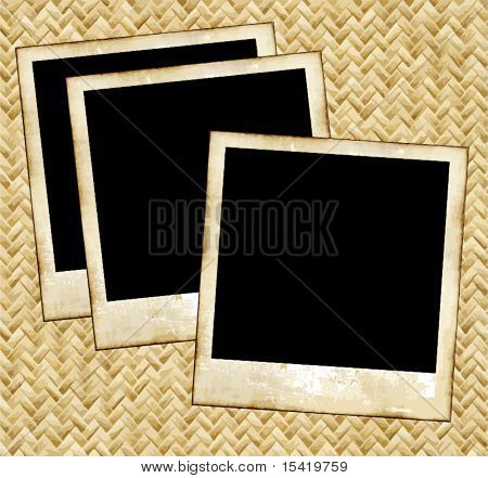 Vector Old Photos On Wicker Placemat
