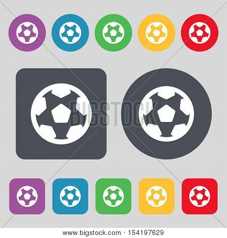 Football, Soccerball Icon Sign. A Set Of 12 Colored Buttons. Flat Design. Vector