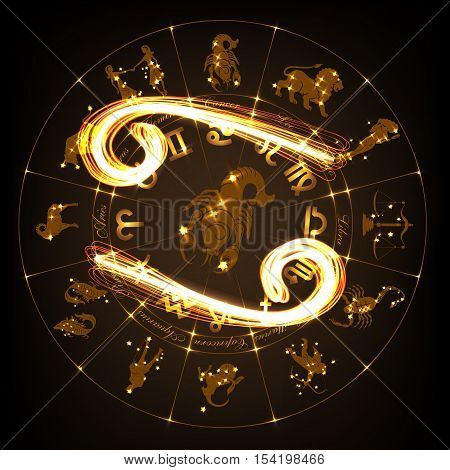 Zodiac sign Cancer in fire-show style on horoscope circle background. Circle with signs of zodiac and constellations.Vector illustration