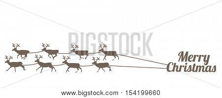 Herd of deers pulling Merry Christmas writing like sleds.