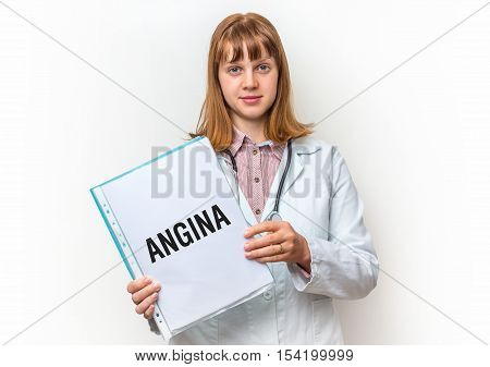Female Doctor Showing Clipboard With Written Text: Angina