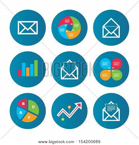 Business pie chart. Growth curve. Presentation buttons. Mail envelope icons. Message document symbols. Post office letter signs. Data analysis. Vector