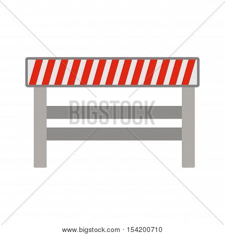 silhouette with barrier closed road vector illustration