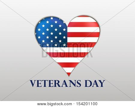 Veterans Day. Brilliant heart with a US flag and shadow on a white background. Patriotic heart. Vector illustrations.