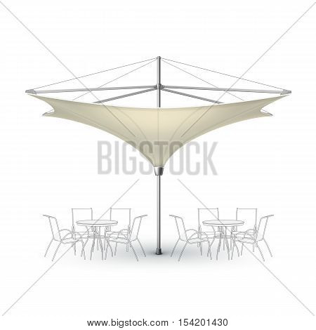 Vector White Beige Blank Inversed Lotus Patio Outdoor Beach Cafe Bar Pub Lounge Restaurant Umbrella Parasol for Branding Front Side View Mock up Close up Isolated on White Background