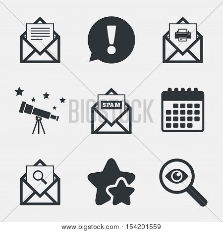 Mail envelope icons. Print message document symbol. Post office letter signs. Spam mails and search message icons. Attention, investigate and stars icons. Telescope and calendar signs. Vector
