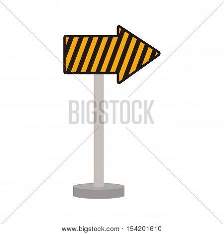 silhouette arrow road guide warning vector illustration