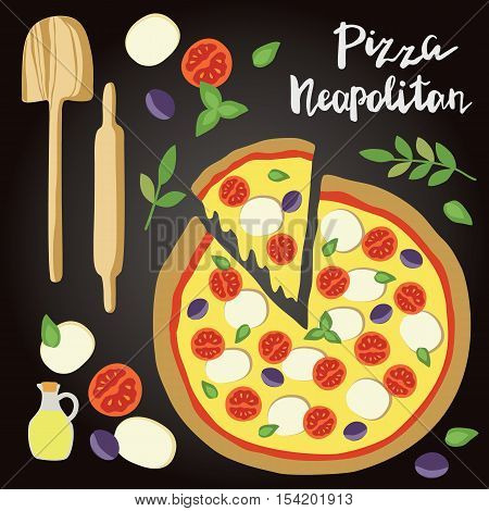 Vector illustration of Neapolitan Pizza with ingredients and hand lettering isolated on the chalk board. Concept for restaurants menu, pizzeria, food sites and cooking magazines.