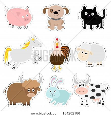 Farm animal set. Pig dog cat cow rabbit ship horse rooster bull. Baby collection. Flat design style. Isolated White background Vector illustration