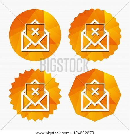 Mail delete icon. Envelope symbol. Message sign. Mail navigation button. Triangular low poly buttons with flat icon. Vector