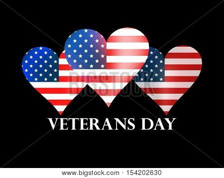 Veterans Day. Heart with the American flag on a black background. Vector illustration.