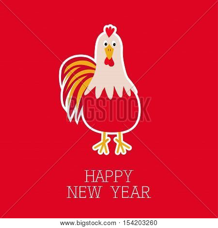 Rooster Cock bird. 2017 Happy New Year symbol Chinese calendar. Cute cartoon funny character with big feather tail. Baby farm animal. Red background. Flat design. Vector illustration