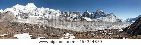 View of Ngozumba glacier the largest glacier in great Himalayan range - way to Cho Oyu base camp - Nepal