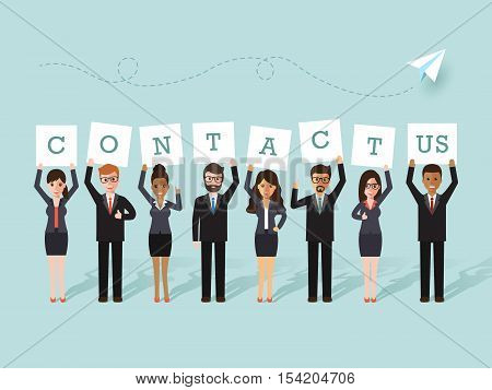 Group of businessman and businesswoman holding